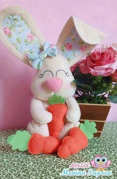 Conejos y zanahoria de fieltro con Patrones04