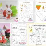 Conejos y zanahoria de fieltro con Patrones