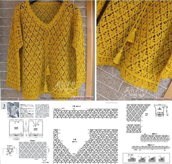Pullover calado de Crochet o Ganchillo Moldes06