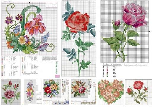 9 moldes de rosas en punto de cruz10