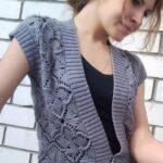 Bolero y chaleco tejido en crochet sin mangas con un patrón