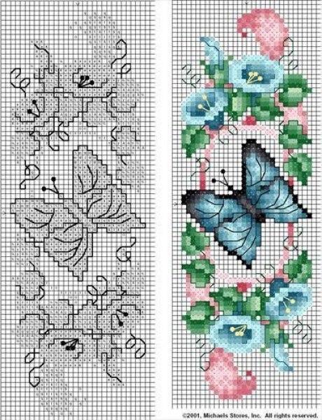 moldes mariposas Diagramas para bordar en punto de cruz02