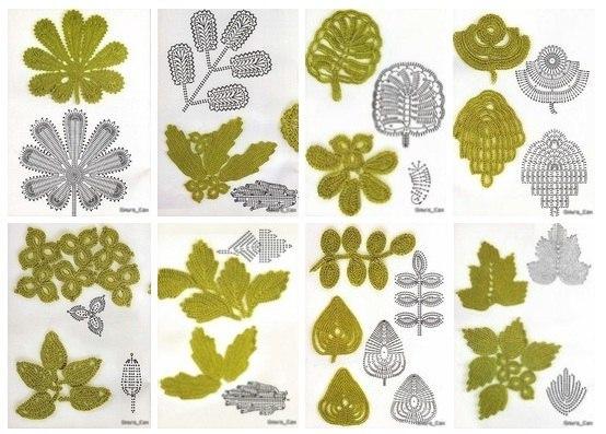 Moldes De Hojas De Las Palmas Para Imprimir: Patrones De Hojas A Crochet Para Imprimircon Moldes