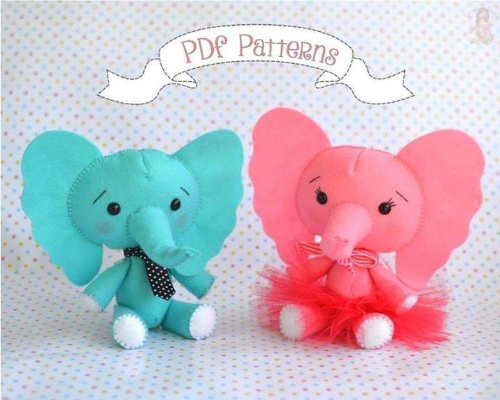 moldes para hacer peluches de elefantes01