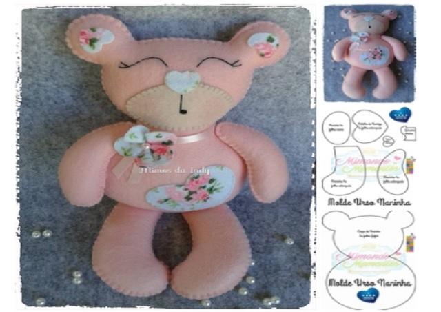 Molde oso de peluche rosado04