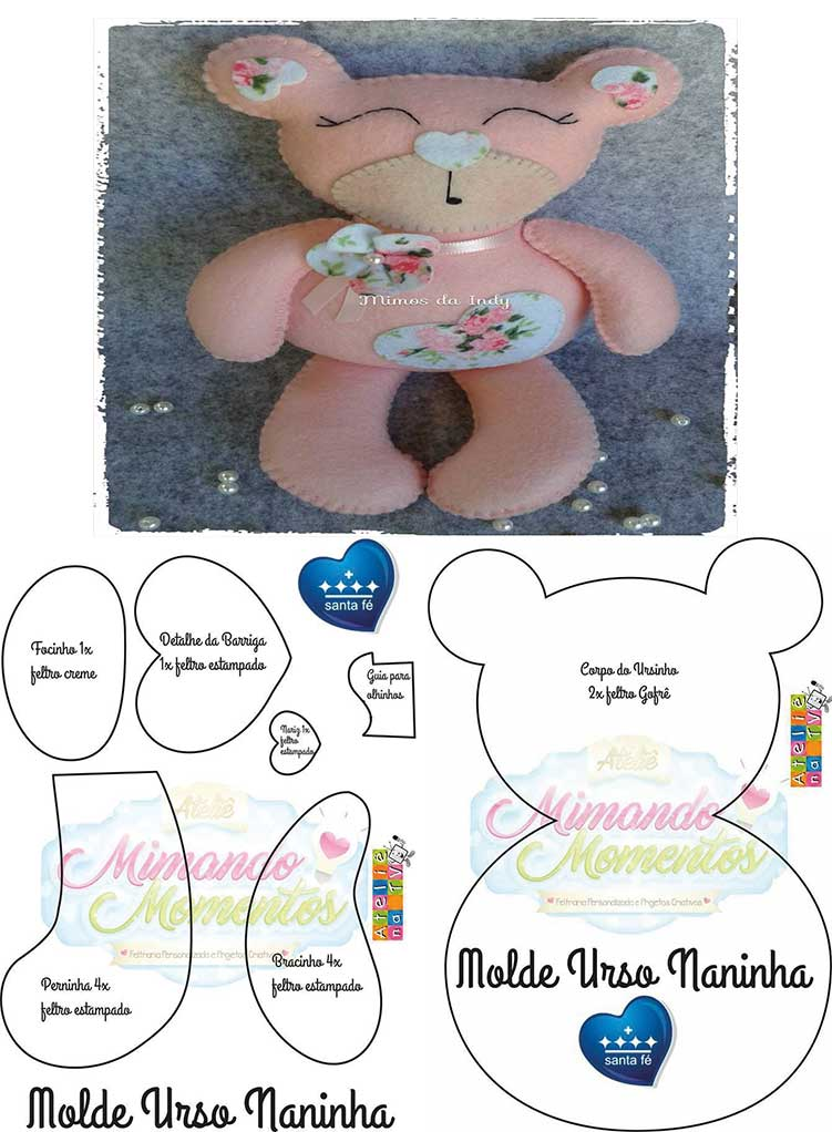 Molde oso de peluche rosado05