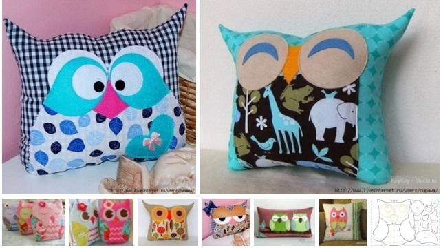 8 ideas para hacer y decorar almohadas de buhos