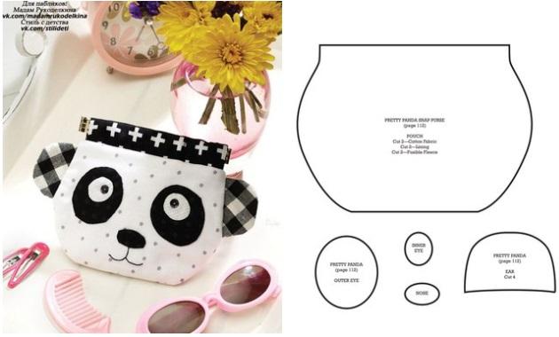 Molde para hacer un bolso de oso panda