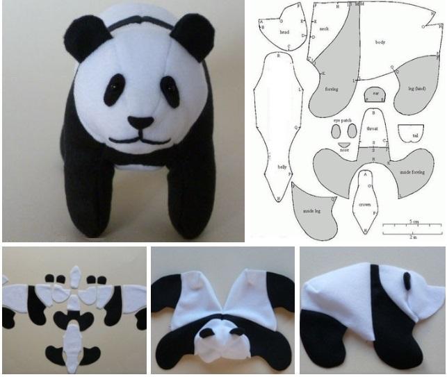 molde para hacer oso panda de peluche