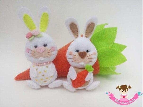 Conejos y zanahoria de fieltro con Patrones01