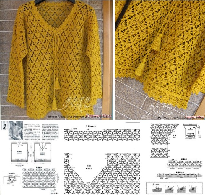 Pullover calado de Crochet o Ganchillo Moldes