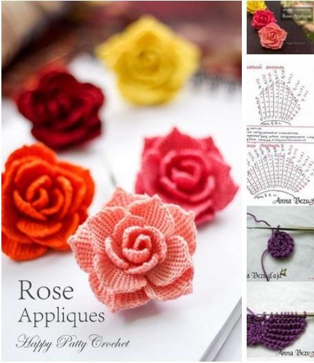 Rosas tejidos a crochet para aplicaciones