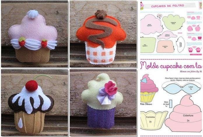 patrones para hacer cupcakes de fieltro