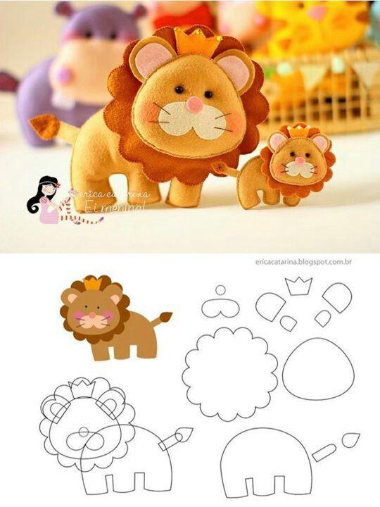 Moldes para hacer leones de fieltro02