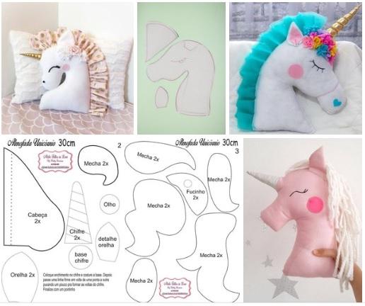 Moldes para hacer una almohada de unicornio07