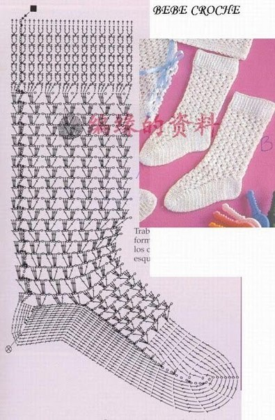 moldes de calcetines o medias tejidos en crochet