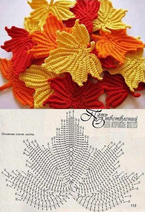 patrones de hojas a crochet para imprimir
