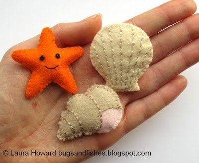 Estrella de mar y concha de fieltro moldes01