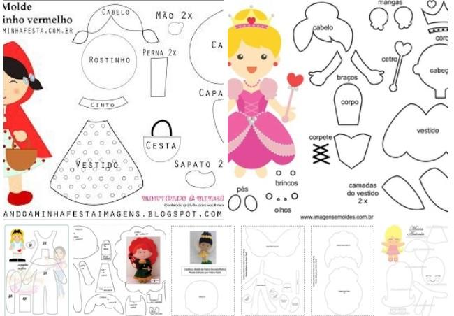 Moldes para hacer princesas disney de fieltro09