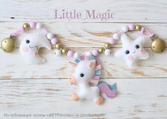guirnalda para bebe de unicornios con moldes