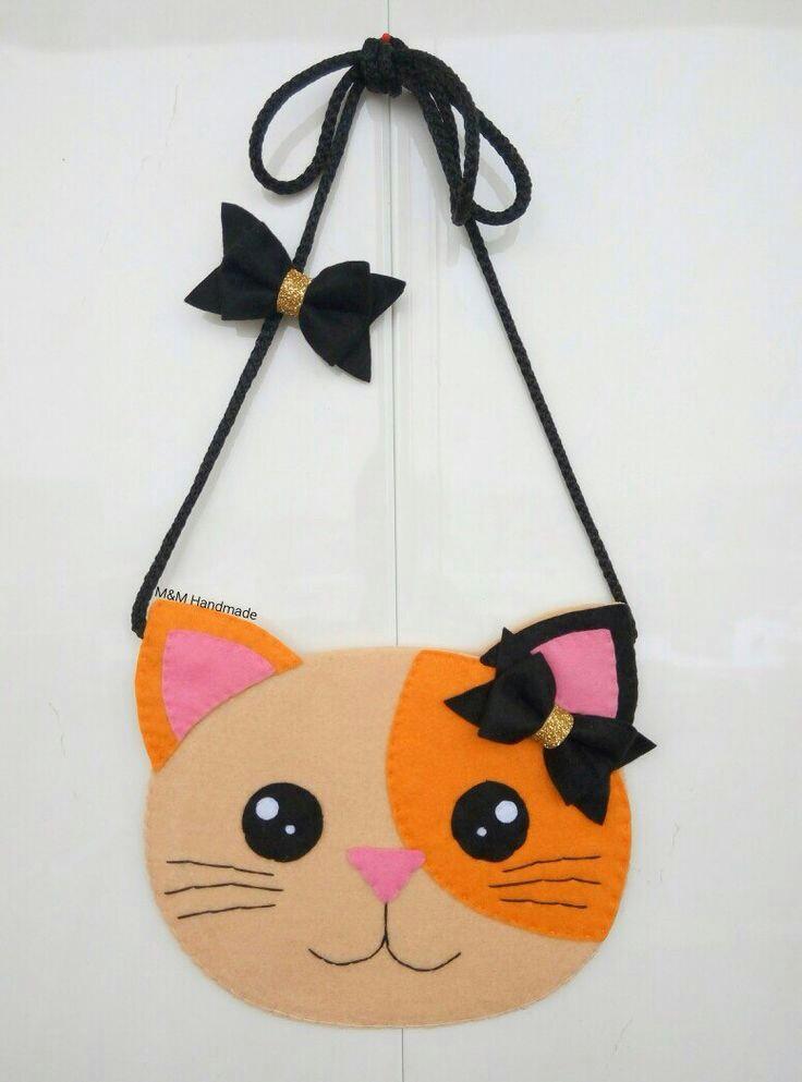 moldes para hacer bolsos para niña con diseños de gatos