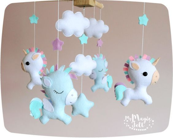 unicornio en fieltro con moldes