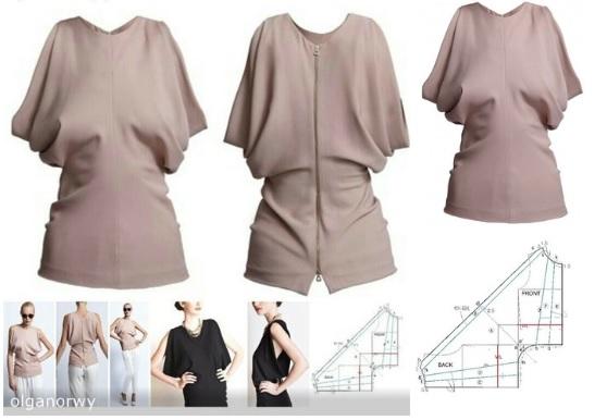 molde de una blusas con sisa anchas