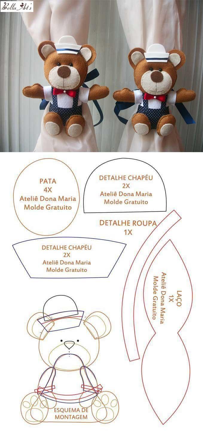 Moldes de sujeta cortinas de Osos hechos con filtro11