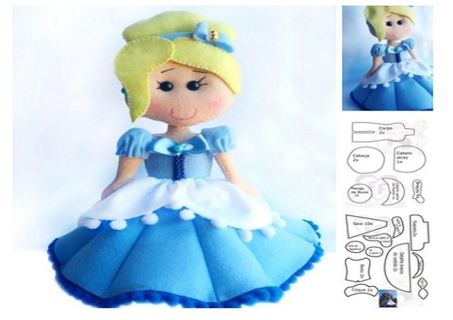 Moldes muñeca cenicienta de fieltro06