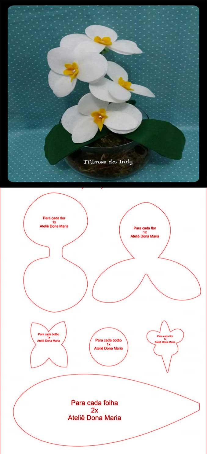 Moldes para hacer orquidias de fieltro03
