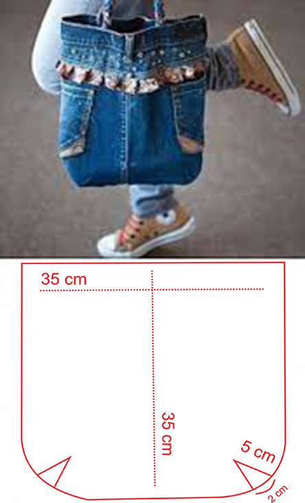molde para hacer un bolso de jeans