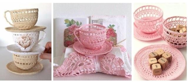 Tazas tejido a crochet