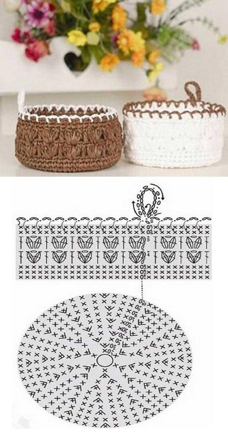 Cesta tejido en crochet