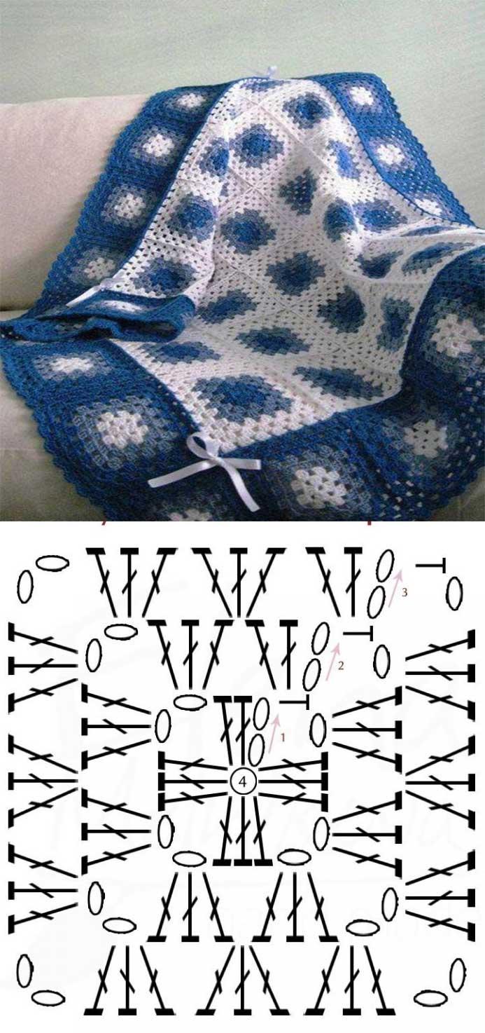 Manta con cuadros tejidos en crochet04