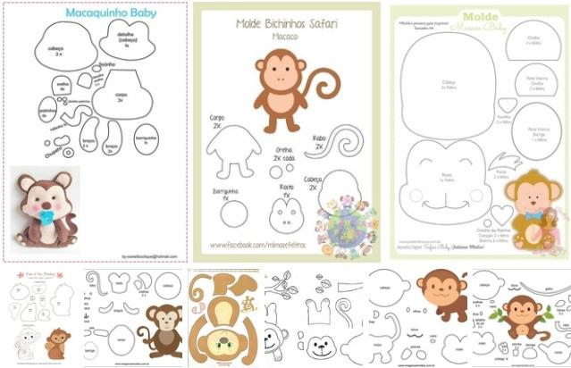 10 moldes para hacer monos de fieltro o foami