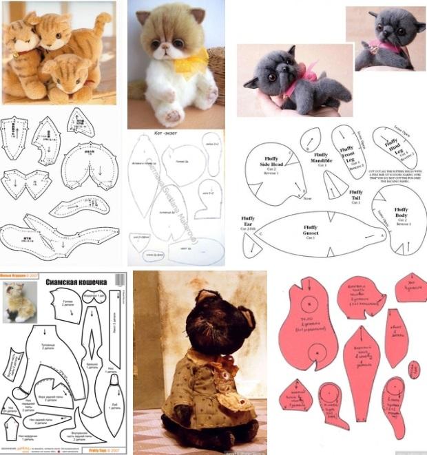 5 patrones para hacer un gato de peluche