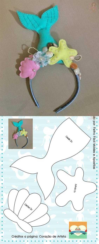 Molde de diadema de sirena para niña
