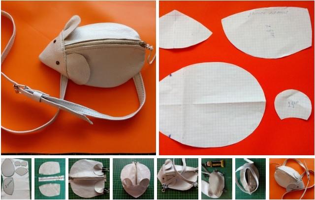 Molde de un bolso con forma de raton