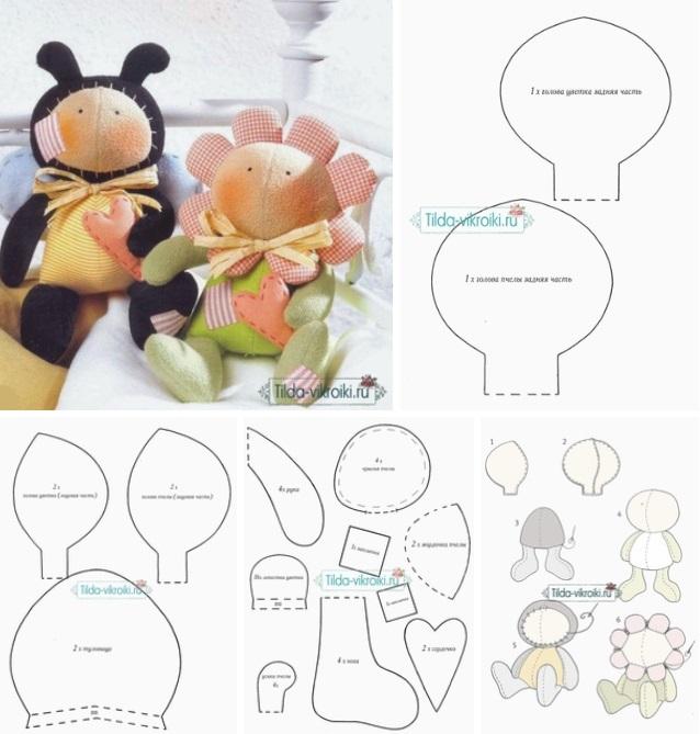 Molde muñecos una abeja y una flor