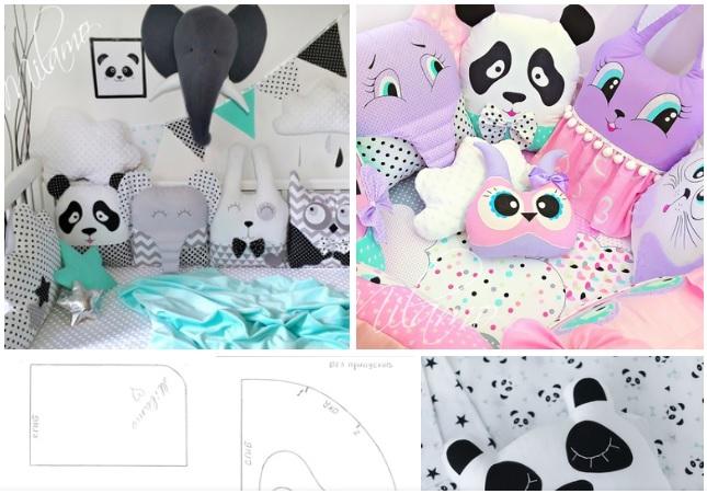 almohada de oso panda molde