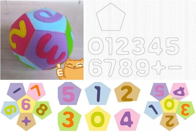 Molde pelota de fieltro para aprender los numeros