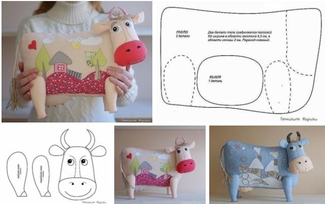 molde para hacer una almohada con forma de vaca