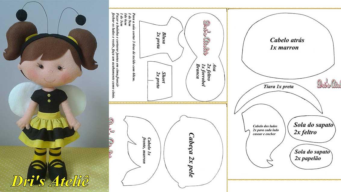 molde para hacer una muñeca con disfraz de abeja