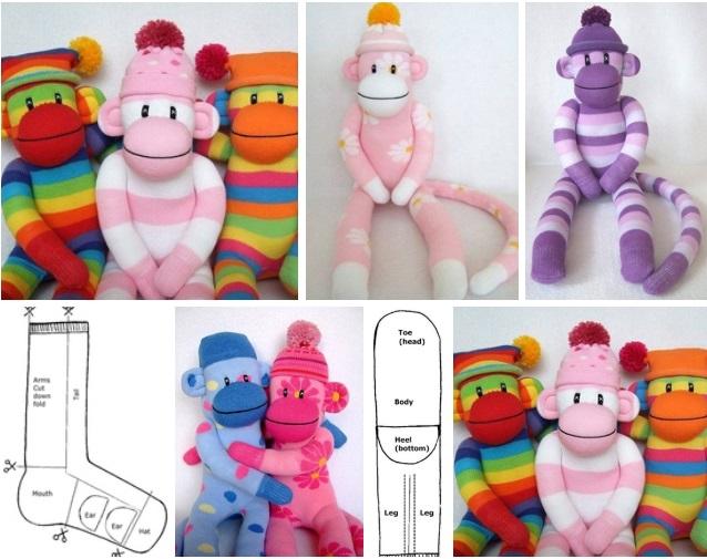 moldes de Un mono hecho con calcetines