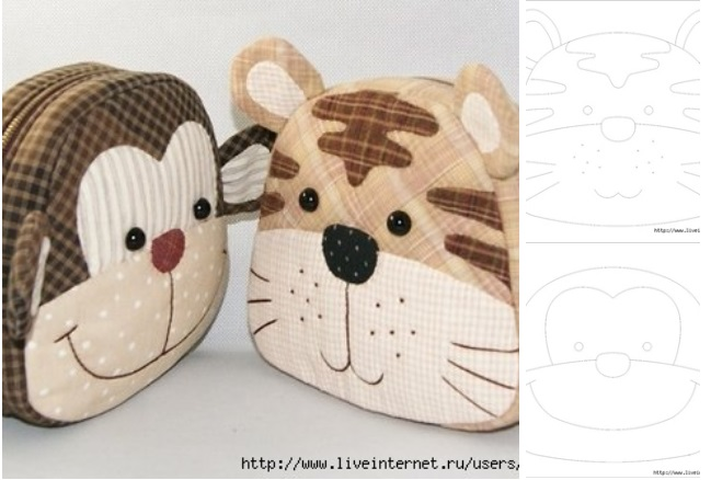 moldes de carteras con forma de mono y tigre