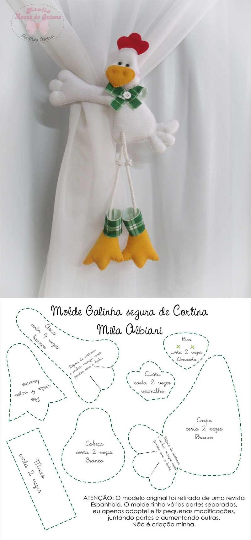 patrones de sujeta cortinas con forma de gallo