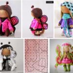 Muñecas textiles de mariposa. Patrones