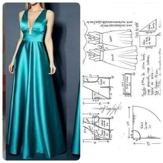 molde de vestido largo